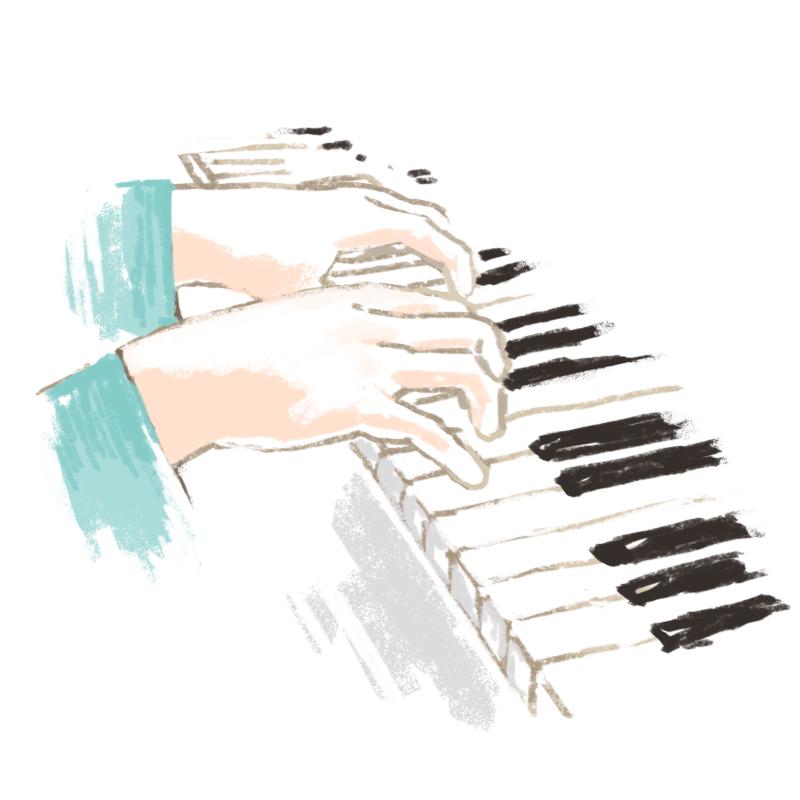 ピアノを弾くフミオ